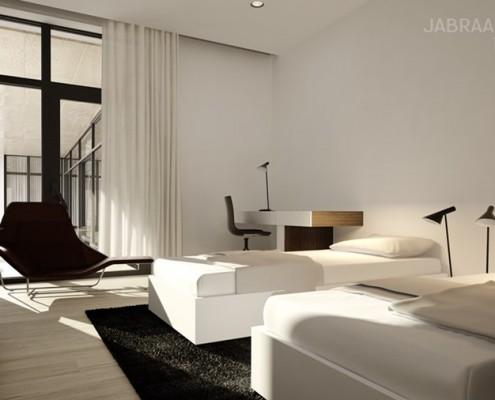 Sypialnia gościnna w bieli JABRAARCHITECTS