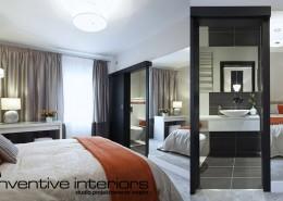 Sypialnia z małą łazienką Inventive Interiors