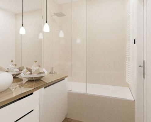Wanna z przeszkleniem w jasnej łazience Sikora Wnętrza