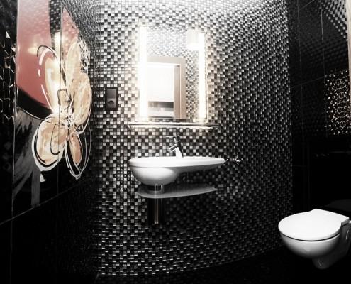 Wystrój toalety w drobnej mozaice Sikora Wnętrza
