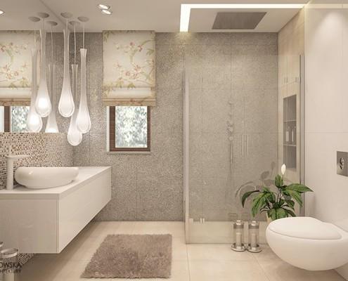 Łazienka z prysznicem w drobnej mozaice Agnieszka Ludwinowska