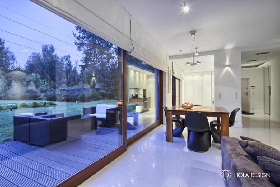 Aranżacja salonu z kominkiem i jadalnią  Architektura   -> Kuchnia Z Jadalnią I Kominkiem