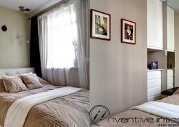 Aranżacja wąskiej sypialni Inventive Interiors