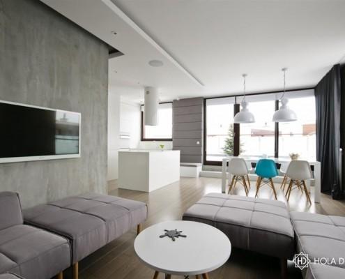 Beton architektoniczny w nowoczesnym wnętrzu Hola Design