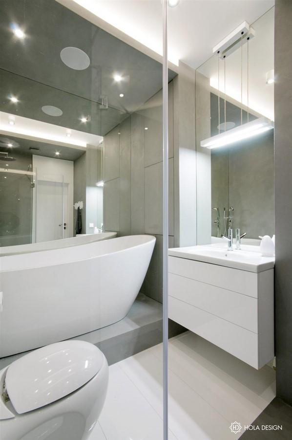 Biało Szara łazienka Z Prysznicem I Wanną Inspiracja Homesquare