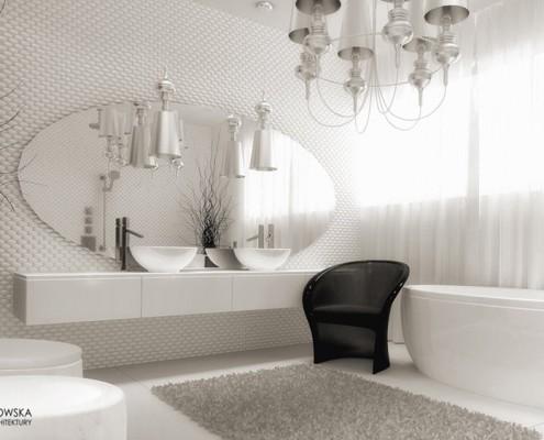 Biały pokój kąpielowy w stylu glamour Agnieszka Ludwinowska