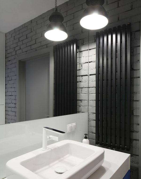 Industrialna łazienka z pralnią - Architektura, wnętrza, technologia, design - HomeSquare