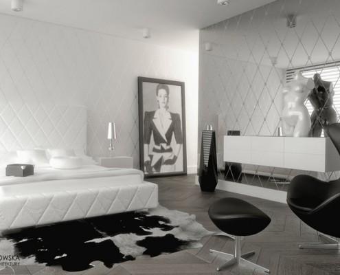 Jasna sypialnia z lustrzaną ścianą Agnieszka Ludwinowska