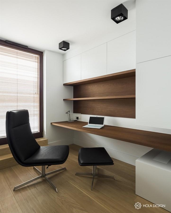Ma y gabinet z nowoczesn zabudow architektura wn trza for Bedroom study area designs
