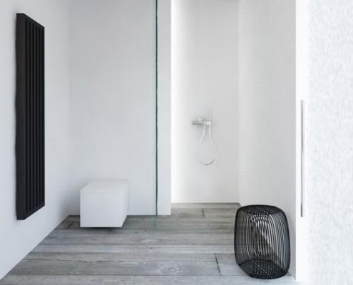 Minimalistyczna łazienka w szarościach i bieli Maka Studio