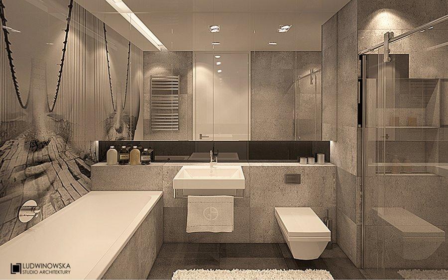 Minimalistyczna łazienka z wanną i prysznicem Agnieszka Ludwinowska