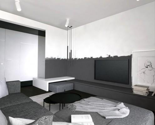 Minimalistyczny salon otwarty na jadalnię Maka Studio