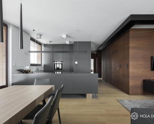 Modne szarości i brązy w nowoczesnym wnętrzu Hola Design