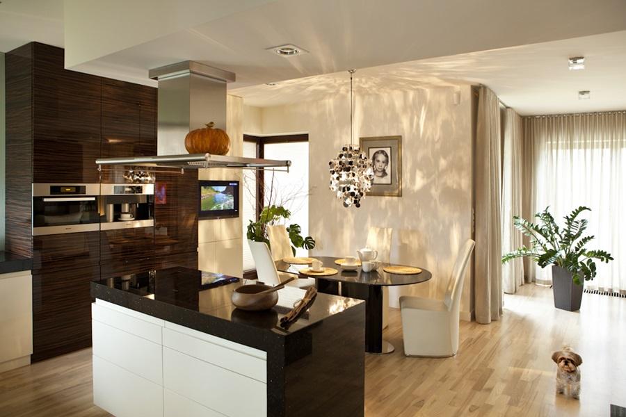 Nastrojowa kuchnia z wyspą i małą jadalnią  Architektura   -> Mala Kuchnia Z Wyspą Aranżacje