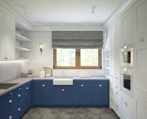 Niebieskie meble w kuchni Finchstudio