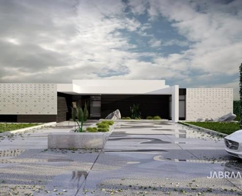 Nowoczesny dom z podświetlaną elewacją JABRAARCHITECTS