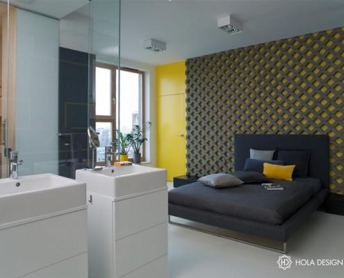 Oryginalna sypialnia z przeszkloną łazienką i sauną Hola Design