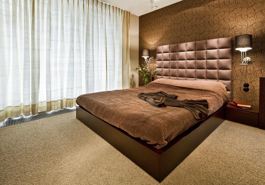 Piękna sypialnia w brązach w minimalistycznym stylu