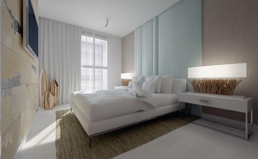 Piękna sypialnia w stylu minimalistycznym stylowe wnętrze