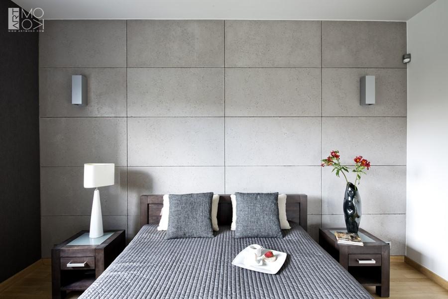 Piękna sypialnia z betonem architektonicznym industrialne wykończenie