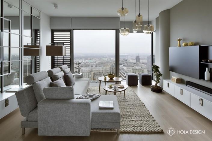 Pokój dzienny z aneksem kuchennym - dywan w salonie