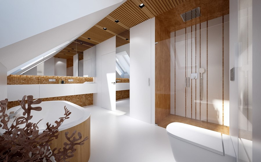 Pokój kąpielowy i wanna na poddaszu Concept - pomysł na poddasze