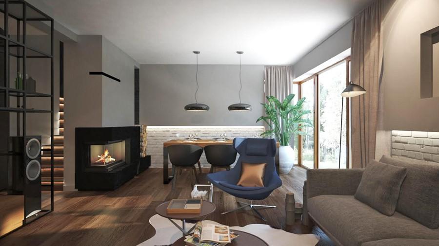 Projekt salonu z jadalnią i kominkiem - Architektura, wnętrza, technologia, design - HomeSquare