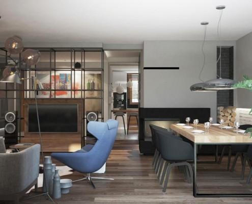 Projekt salonu z jadalnią i kominkiem Finchstudio