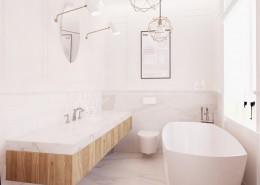 Wolnostojąca wanna w małej łazience styl minimalistyczny