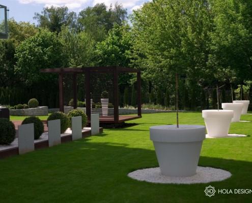 Wystrój tarasu z ogrodem w nowoczesnym stylu Hola Design