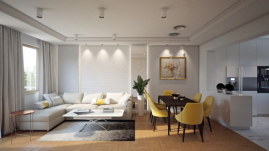 Wytworny salon w bieli wystrój wnętrz