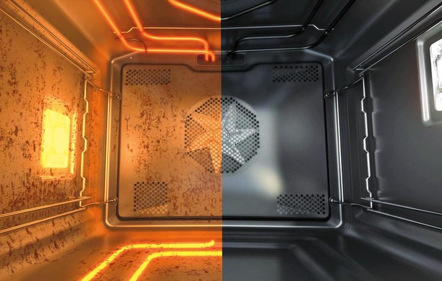 Funkcja automatycznego czyszczenia wnętrza piekarnika. Gorenje by Starck. Przed i po procesie