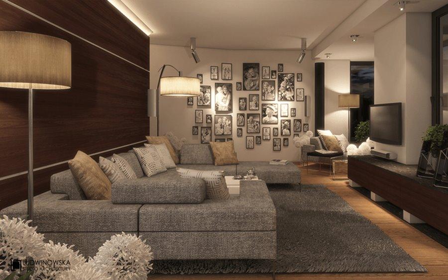 Ciepłe oświetlenie salonu w nowoczesnym stylu