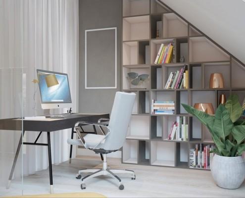 Domowe biuro na poddaszu Finchstudio - pomysł na poddasze