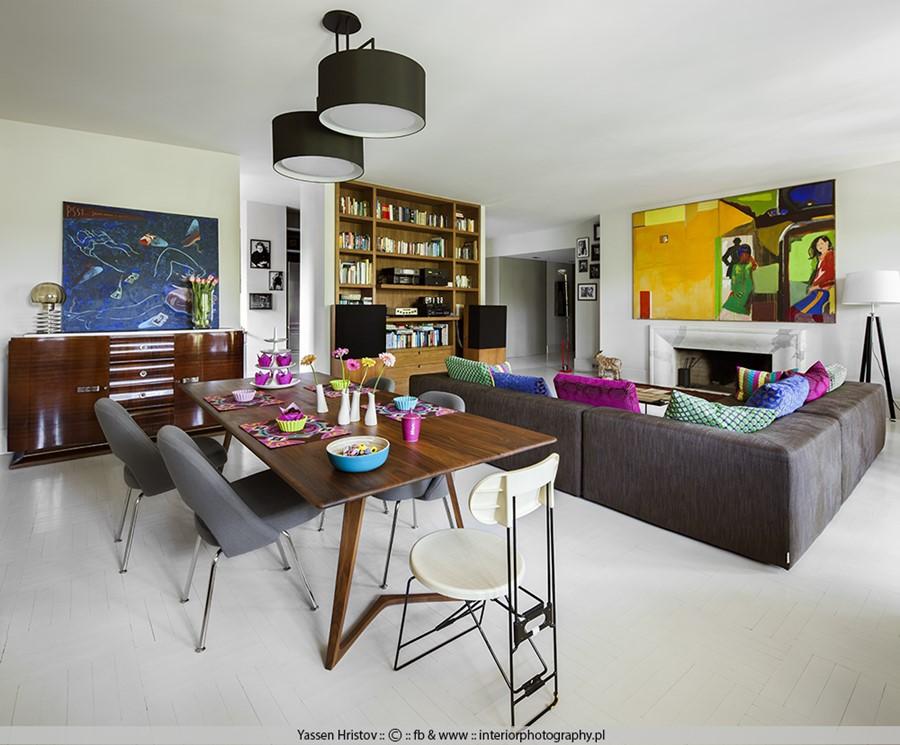 Jadalnia w salonie styl eklektyczny we wnętrzu
