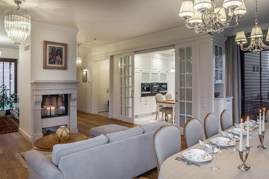 Klasyczny pokój dzienny z jadalnią - kolory w salonie