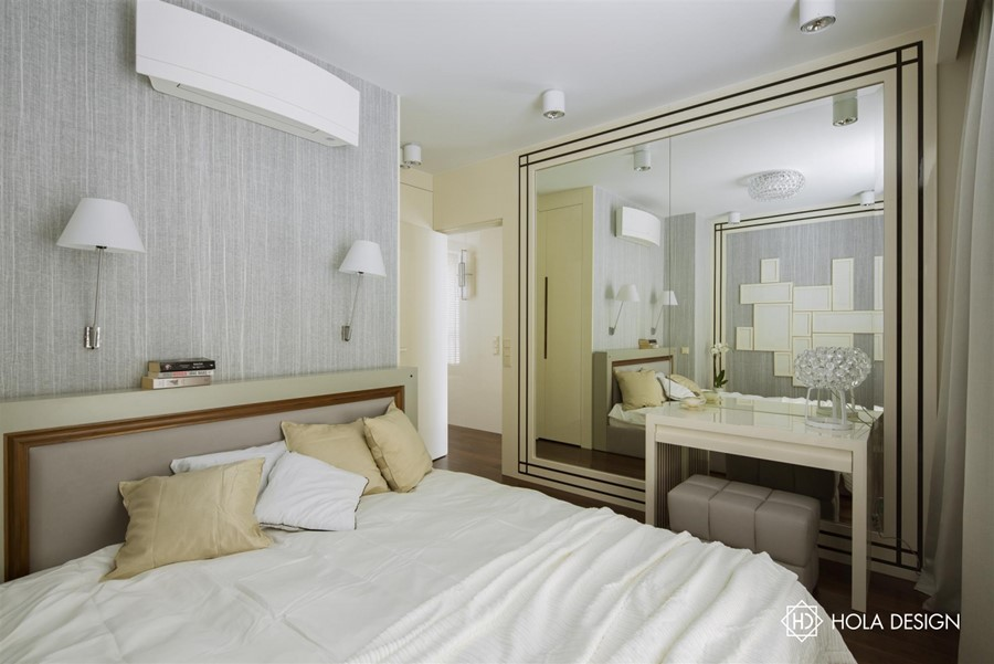 Oryginalny wystrój sypialni w jasnych kolorach Hola Design