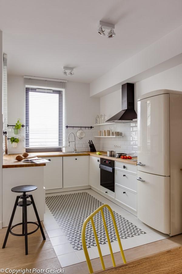 Otwarta kuchnia w stylu retro  Architektura, wnętrza, technologia, design  -> Kuchnia Pol Otwarta