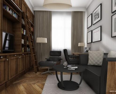 Projekt domowego gabinetu z biblioteką Pracownia USZOK