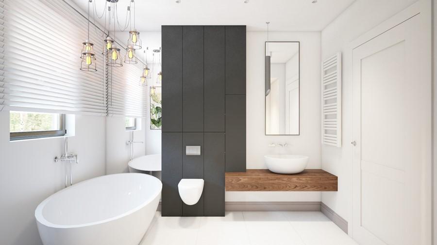 Projekt minimalistycznej łazienki z wanną Finchstudio - oryginalna łazienka