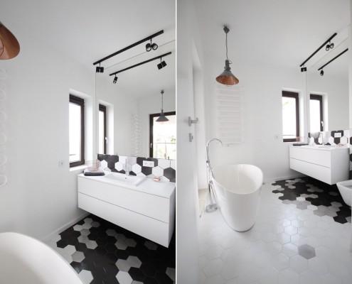 Sześciokątne płytki w łazienkach nowoczesna glazura łazienkowa