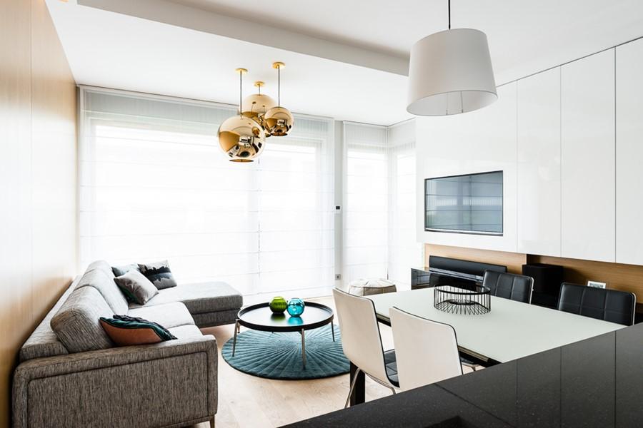 Ładne mieszkanie salon z jadalnią inspiracje