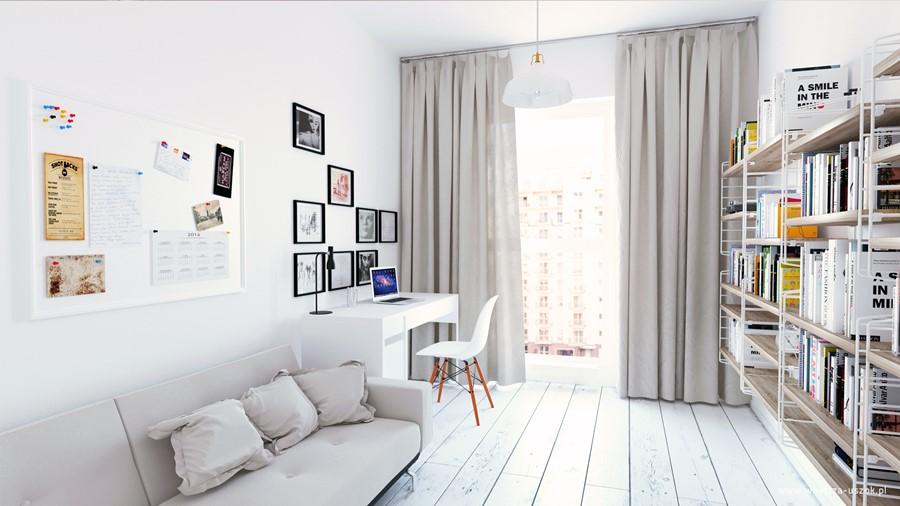Ładne mieszkanie w bieli styl nowoczesny