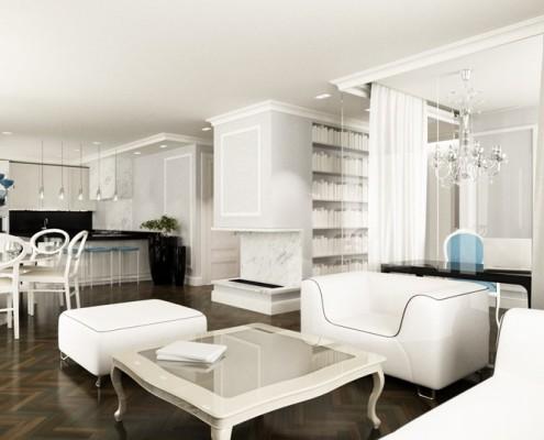 Białe wnętrze w stylu glamour Living Box