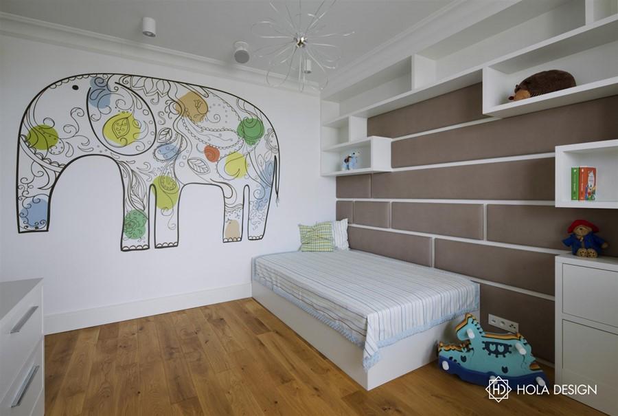 Biało-beżowy pokój dziecięcy - Architektura, wnętrza, technologia, design - HomeSquare