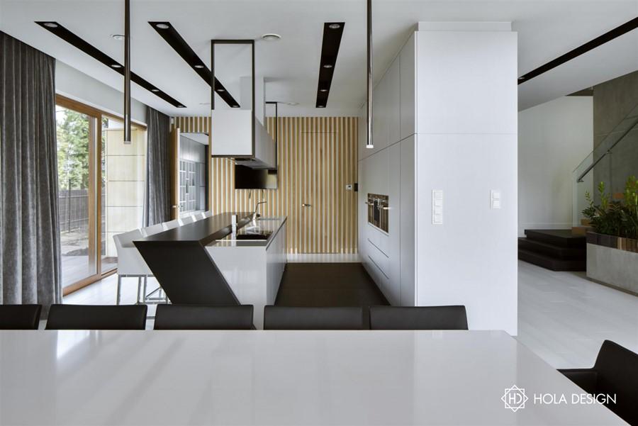 Czarno biała kuchnia z jadalnią  Architektura, wnętrza, technologia, design