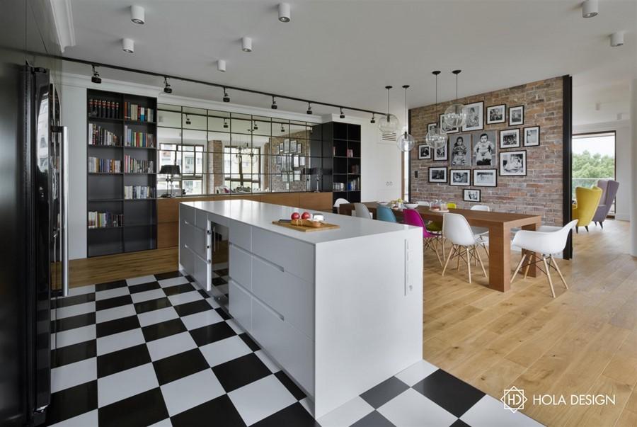 Idustrialna jadalnia połączona z duża kuchnią - profesjonalne biuro projektowe