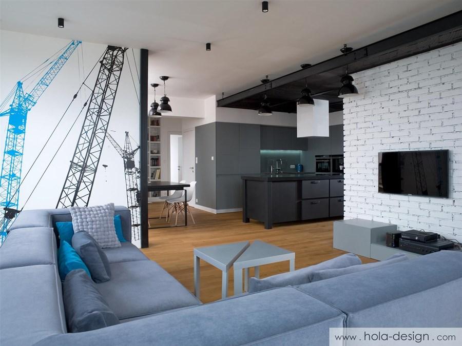 Industrialne wnętrze salonu wystrój wnętrz - biuro projektowe