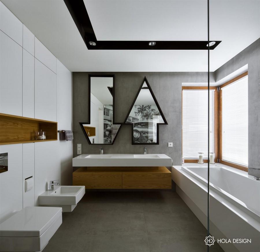 Oryginalna łazienka z wanną i prysznicem - Architektura, wnętrza, technologia, design - HomeSquare