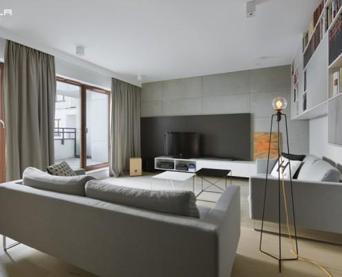 Otwarty pokój dzienny w popielu Tilla Architects